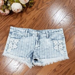 Mossimo Frayed White Washed Low Denim Jean Shorts